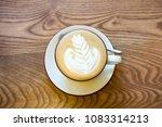 hot latte art coffee in white... | Shutterstock . vector #1083314213