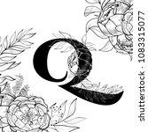 flower alphabet letter q pattern | Shutterstock .eps vector #1083315077