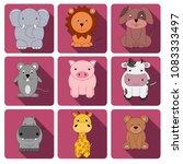 vector clipart animals set   Shutterstock .eps vector #1083333497