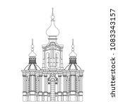 monochrome drawing  architectur ... | Shutterstock .eps vector #1083343157