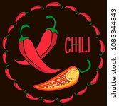 red hot chili peppers in a dark ... | Shutterstock .eps vector #1083344843