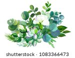 bouquet of flowers  watercolor... | Shutterstock . vector #1083366473