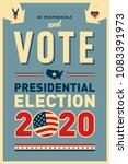 vintage style 2020 united...   Shutterstock .eps vector #1083391973