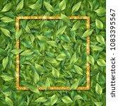 gold frame on leaf background....