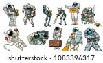 set collection astronauts and... | Shutterstock .eps vector #1083396317