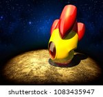 failed landing of a rocket ... | Shutterstock . vector #1083435947
