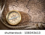old compass and rope on vintage ... | Shutterstock . vector #108343613