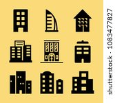 set of 9 apartment filled icons ... | Shutterstock .eps vector #1083477827