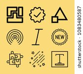 set of 9 shapes outline icons... | Shutterstock . vector #1083480587
