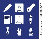 set of 9 pen filled icons such... | Shutterstock .eps vector #1083487547