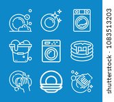 set of 9 cleaning outline icons ... | Shutterstock .eps vector #1083513203