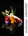 beautiful dessert on a black... | Shutterstock . vector #1083543587