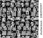 african adinkra pattern   black ... | Shutterstock .eps vector #1083593597
