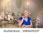 portrait of beautiful blonde... | Shutterstock . vector #1083635237