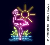 tropical neon tube light with a ... | Shutterstock .eps vector #1083646223
