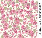 seamless pattern of pink apple...   Shutterstock . vector #1083659027
