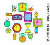 time and clock icons set in pop ...