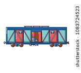 cargo train wagon icon. cartoon ... | Shutterstock .eps vector #1083724523