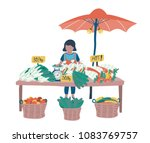 doodle woman vendor selling... | Shutterstock .eps vector #1083769757