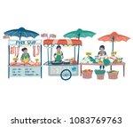 doodle local food market in... | Shutterstock .eps vector #1083769763