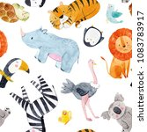 cute watercolor pattern safari  ... | Shutterstock . vector #1083783917