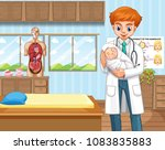 doctor and baby in hospital... | Shutterstock .eps vector #1083835883