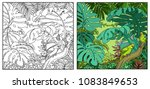 wild jungle with amazon parrot... | Shutterstock .eps vector #1083849653