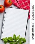 Blank Recipe Book On Kitchen...