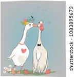 vedding couple of farm birds | Shutterstock .eps vector #1083895673