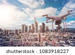 multicopter drone flying over... | Shutterstock . vector #1083918227