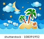Tropical sea, at night. Vector illustration - stock vector