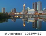 Scioto River and Columbus Ohio skyline - stock photo