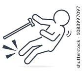 elderly with stick and slip... | Shutterstock .eps vector #1083997097