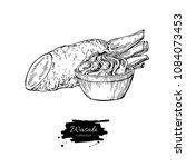 wasabi root slice with sauce in ... | Shutterstock .eps vector #1084073453