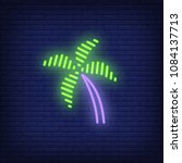 palm tree neon sign. bright... | Shutterstock .eps vector #1084137713