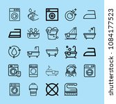 set of 25 washing outline icons ... | Shutterstock .eps vector #1084177523