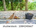 stick broom or coconut broom   Shutterstock . vector #1084240667