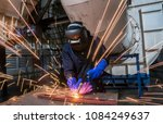 worker at the factory is...   Shutterstock . vector #1084249637