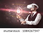 businessman with dji goggles... | Shutterstock . vector #1084267547