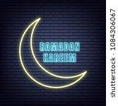 ramadan kareem neon design....   Shutterstock .eps vector #1084306067