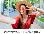 cute fancy  woman making... | Shutterstock . vector #1084341887