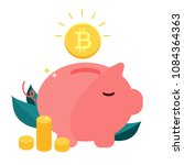 money box pig with falling... | Shutterstock .eps vector #1084364363