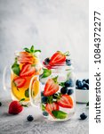 infused detox water with...   Shutterstock . vector #1084372277