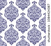 blue and white damask vector... | Shutterstock .eps vector #1084424387