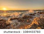 croatian rocky beach. summer ...   Shutterstock . vector #1084433783