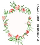 watercolor crest romantic frame ...   Shutterstock . vector #1084449917