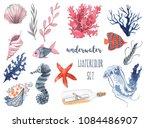 underwater watercolor set. ...   Shutterstock . vector #1084486907