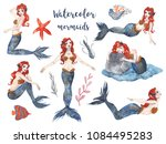 mermaids with red hair. set of...   Shutterstock . vector #1084495283