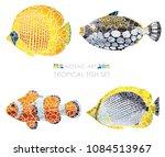 mosaic tropical fish set ...