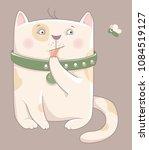 cartoon cat   funny vector... | Shutterstock .eps vector #1084519127